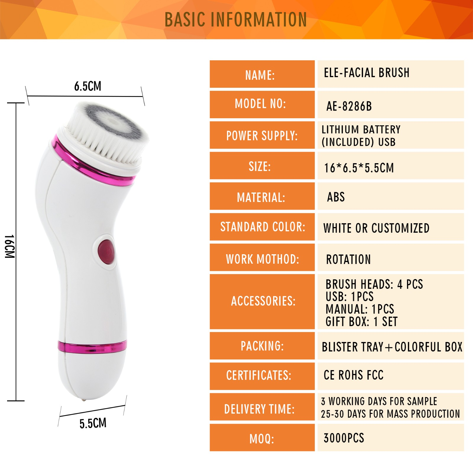 Amazon Hot sale 4-1 Facial Brush AE-8286B