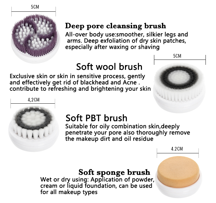 4-1 Pore Cleansing Facial Brush with Makeup tool AE-8289