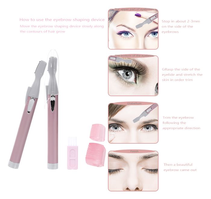 Electric Painless Epilator Nose Hair Removal Eyebrow Trimmer AE-816A with LED light for Ladies