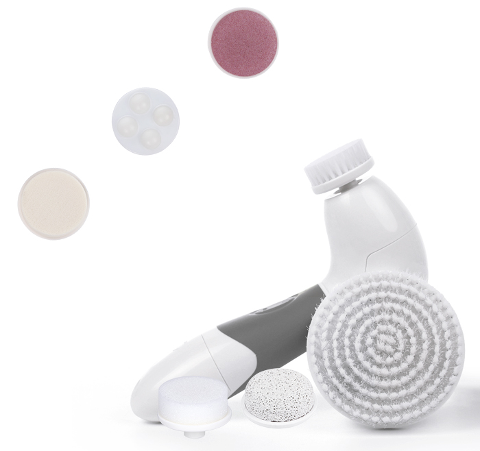 Multi-function 7 in 1 Face & Body Brush with massaging heads Replacement Face Cleansing Brush AE-8288