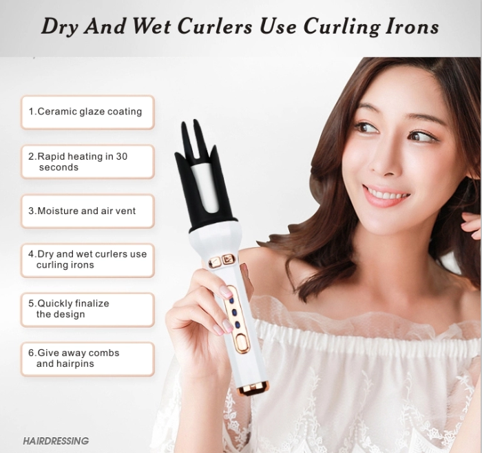 Automatic Iron Hair Curler Professional Heater Curling 360 Two Way Rotating Rechargeable Automatic Hair Curler AE-505